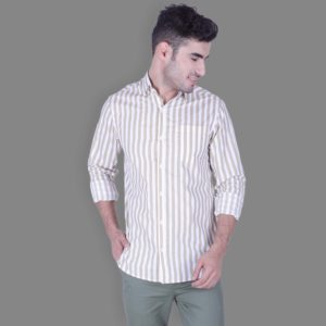 Beige - Striped Button Down Shirt