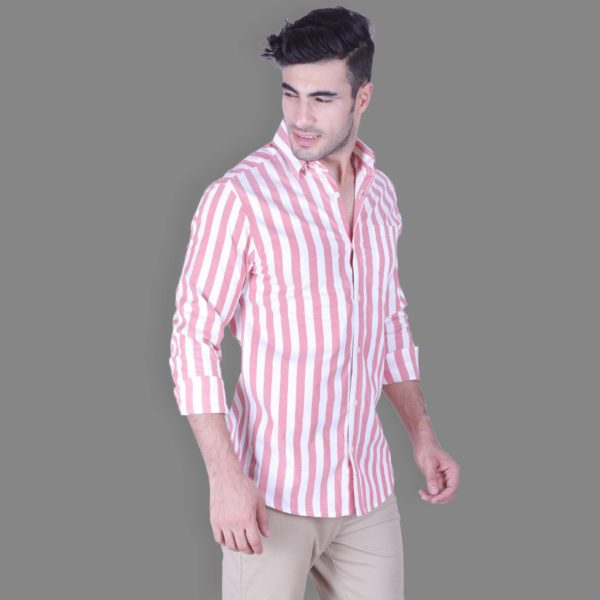 Red - Striped Button Down Shirt