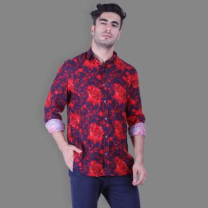 Fantasy Print Button Down Shirt - Red
