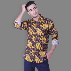 Fantasy Print Button Down Shirt - Yellow